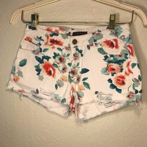 Floral Print Distressed Cut-off Shorts size small